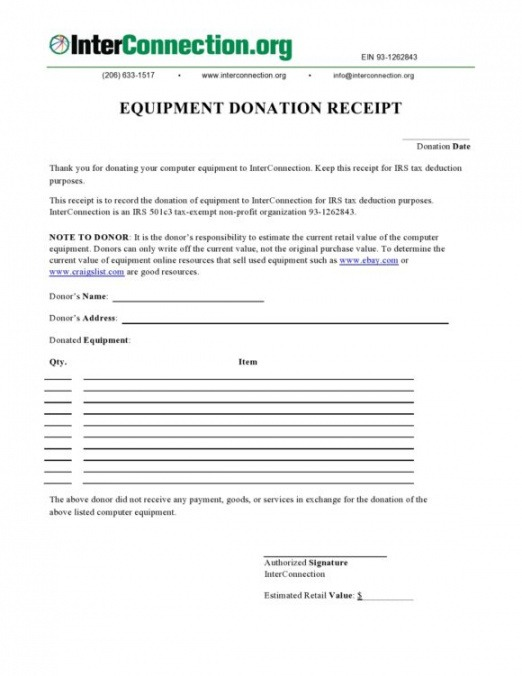 Best Donation Itemized List Template Doc Example