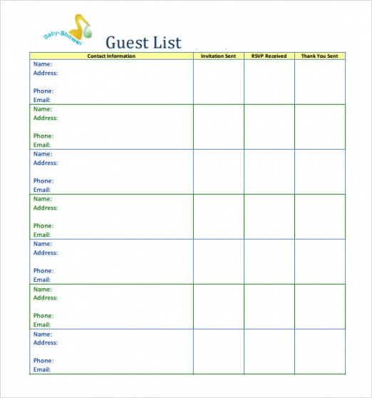 Costum Baby Shower To Do List Template  Sample