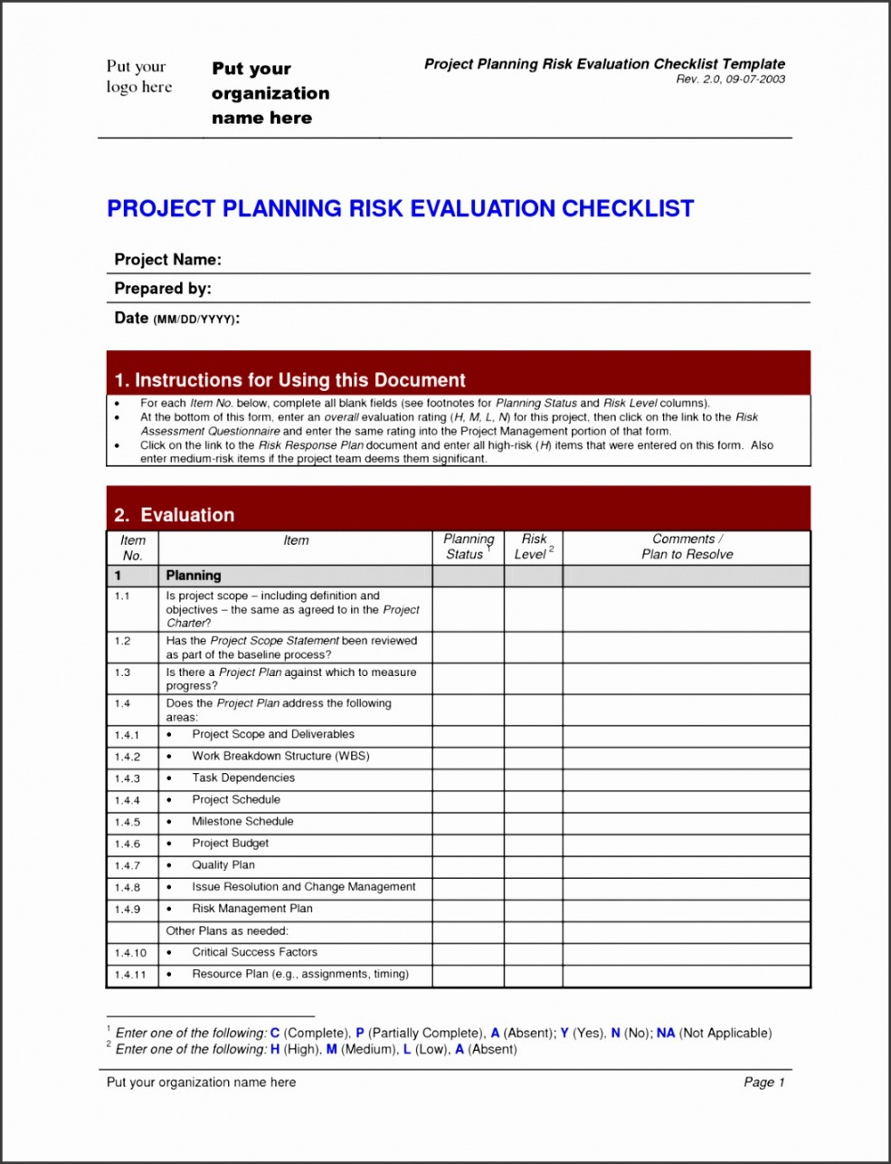 Costum Project Management To Do List Template