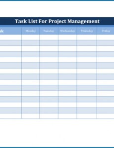 Free Project Management To Do List Template Pdf Example