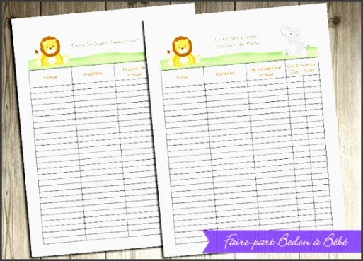 Printable Baby Shower To Do List Template Excel Sample