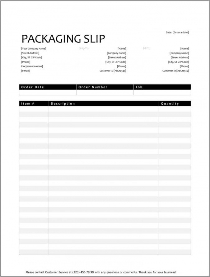 Printable Shipping Packing List Template Excel Example