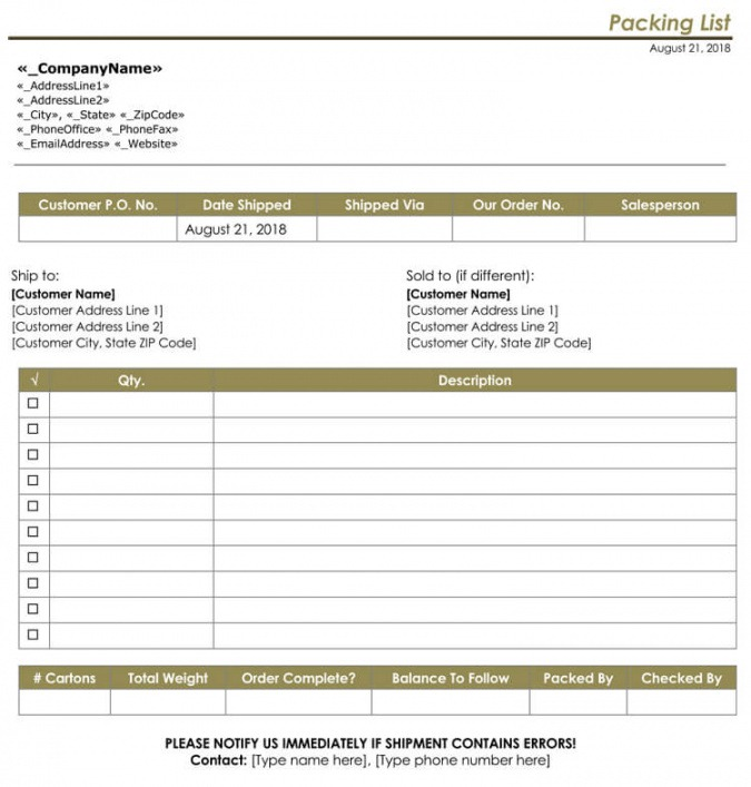 Shipping Packing List Template Doc Example