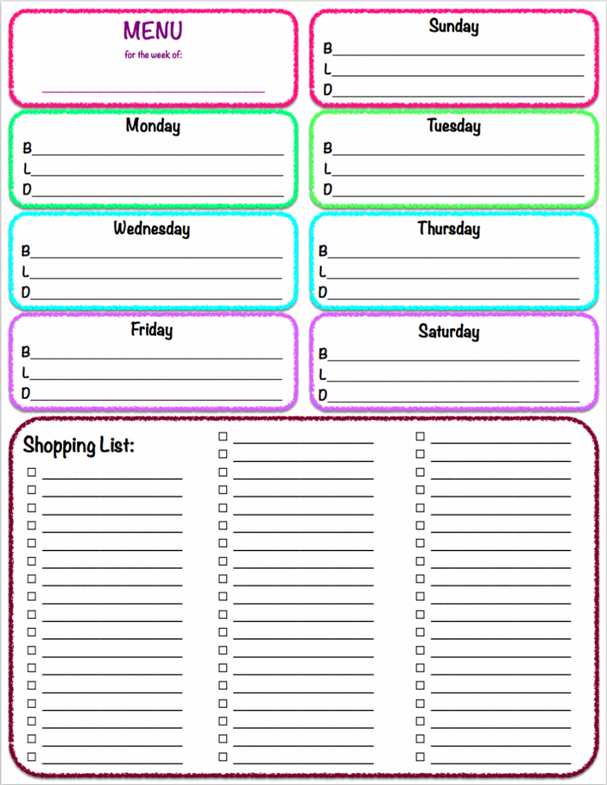 Weekly Meal Planner With Grocery List Template Word Sample