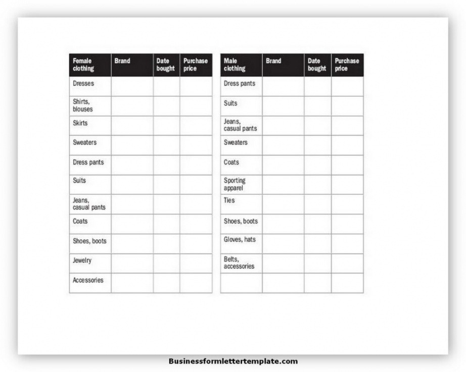 Best Insurance Claim Inventory List Template Pdf Example