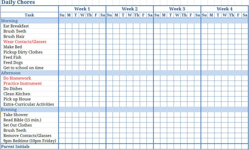 Costum Chores List Template For Kids Word Sample
