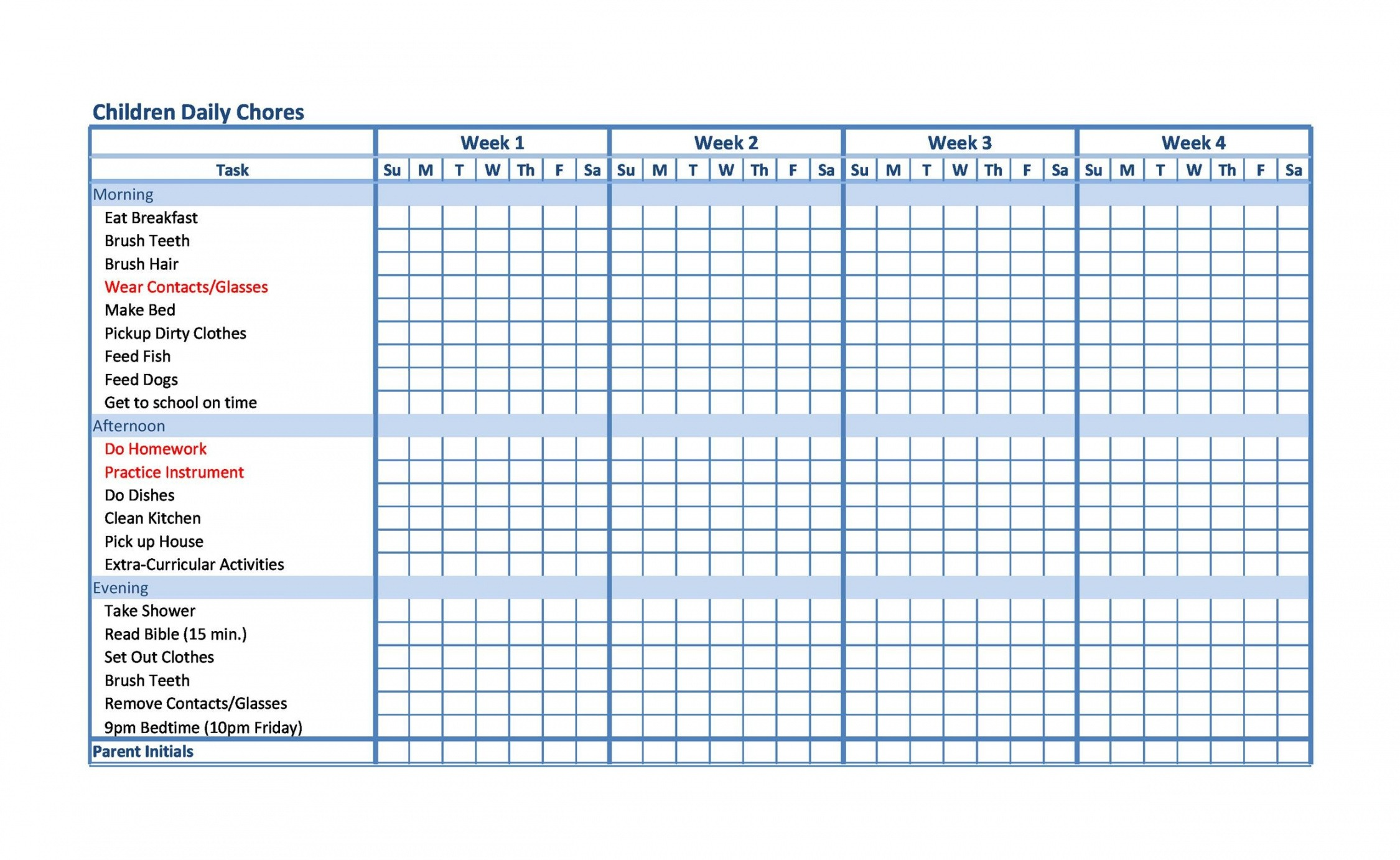 Free Chores List Template For Kids Excel Example