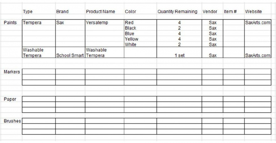 Free School Supplies Inventory List Template Excel Sample