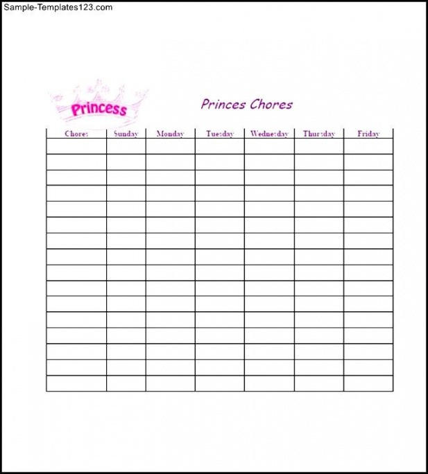 Professional Weekly Chores List Template Doc Sample