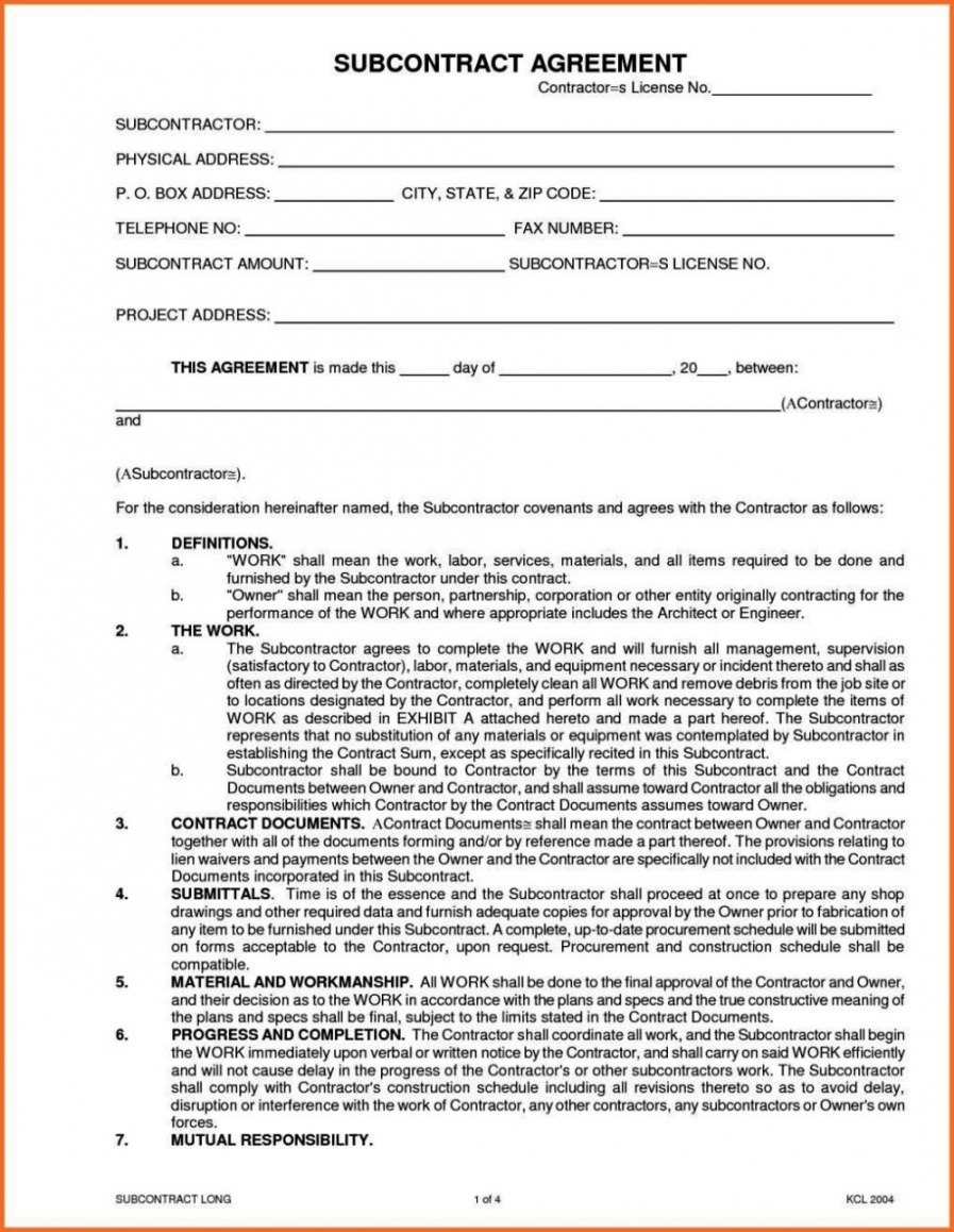 Free Subcontractor Contact List Template Doc
