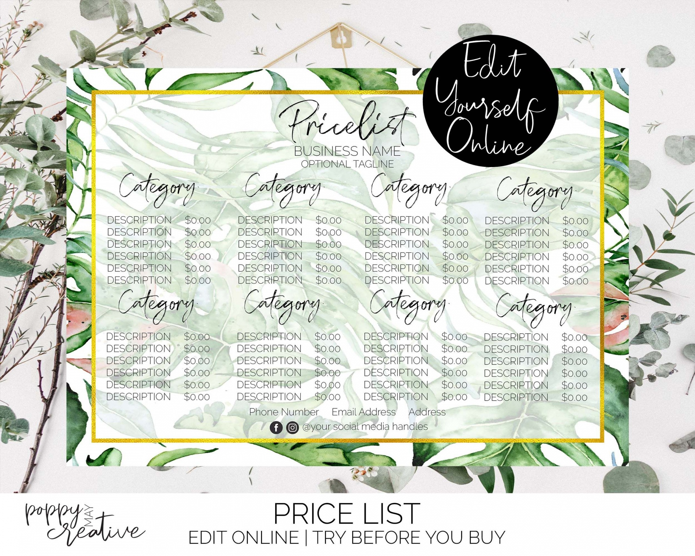 Hairdresser Price List Template Pdf Example