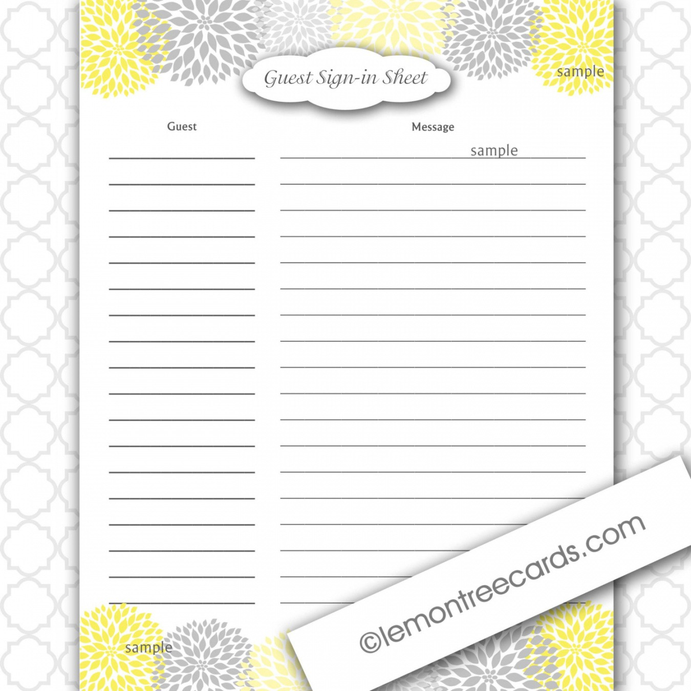 Printable Bridal Shower Guest List Template Word