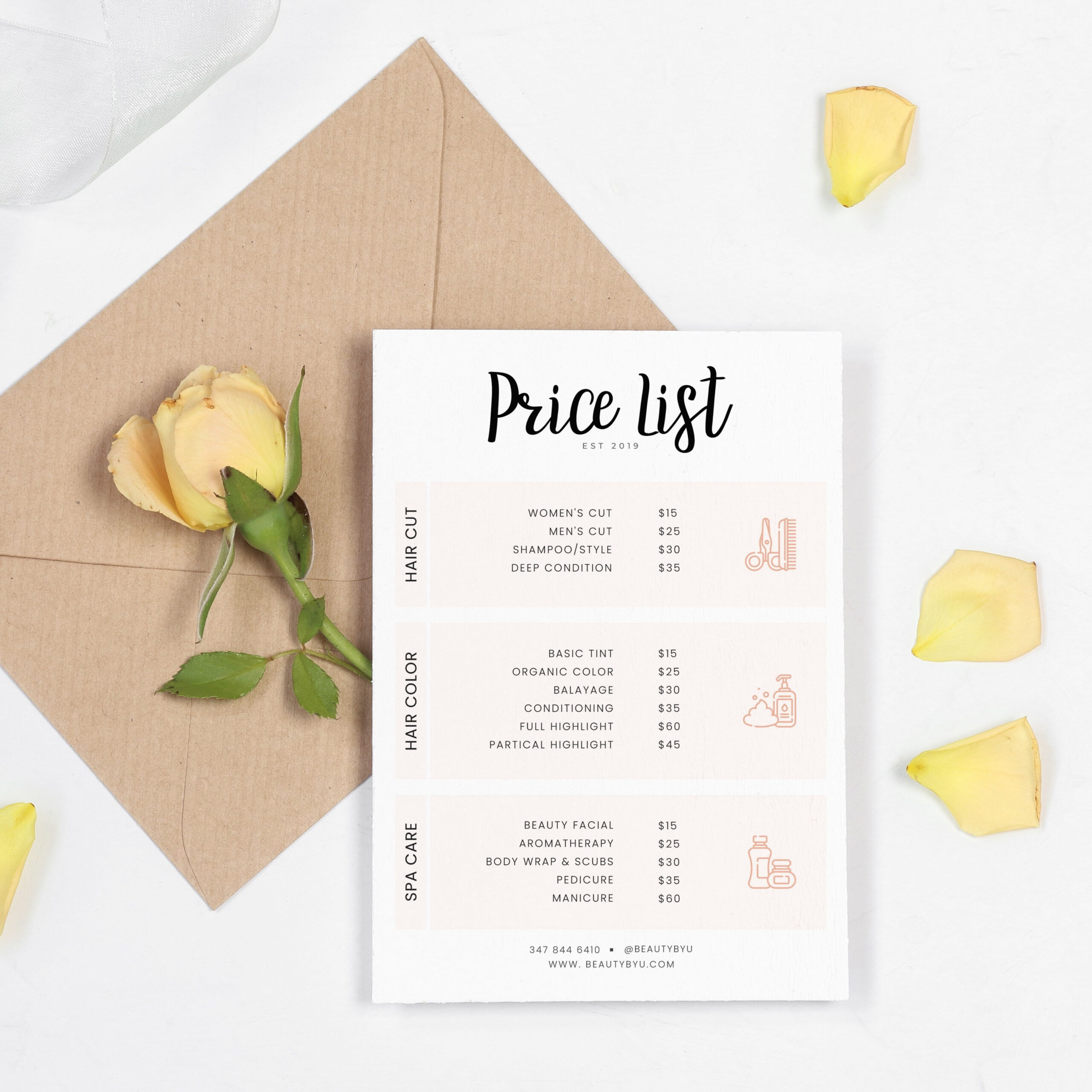 Printable Hairdresser Price List Template Word Example