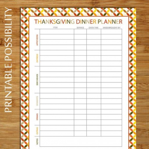 Best Thanksgiving Grocery List Template Pdf Example