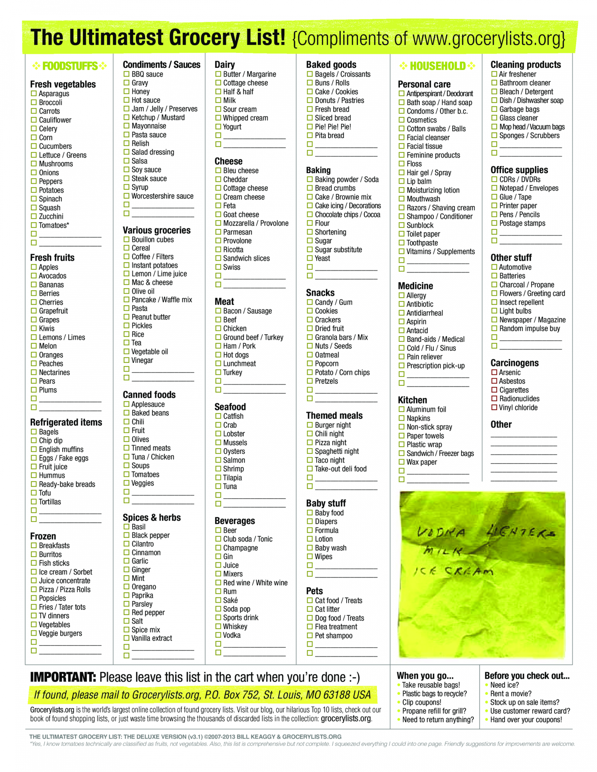 Healthy Grocery Shopping List Template  Sample