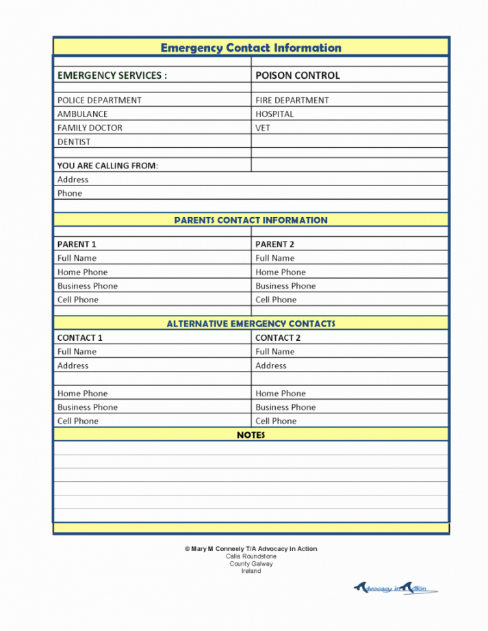 Printable Emergency Contact List Template  Sample