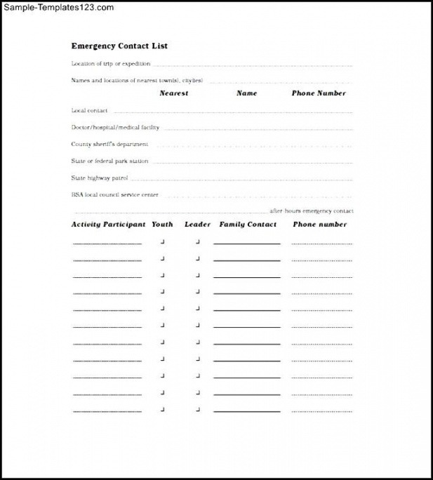 Professional Emergency Contact List Template Word