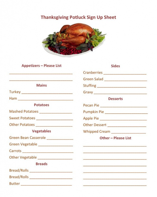 Thanksgiving Grocery List Template  Sample