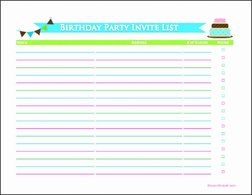Best Birthday Party Guest List Template Word