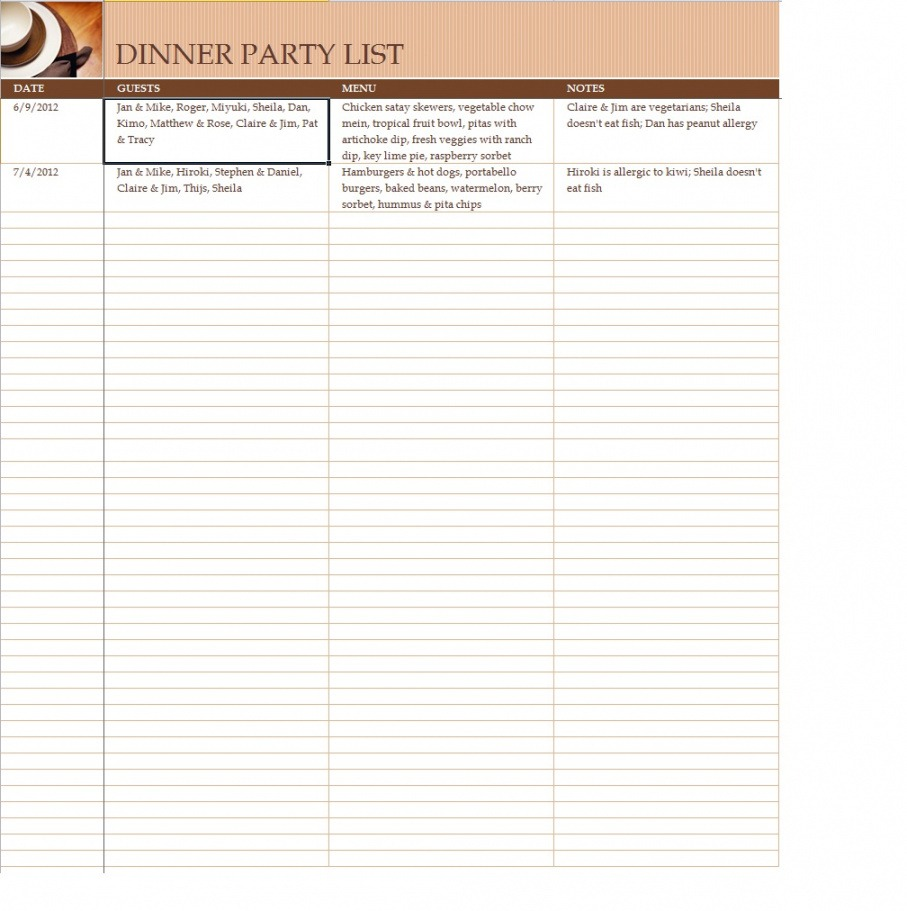 Birthday Party Guest List Template Word