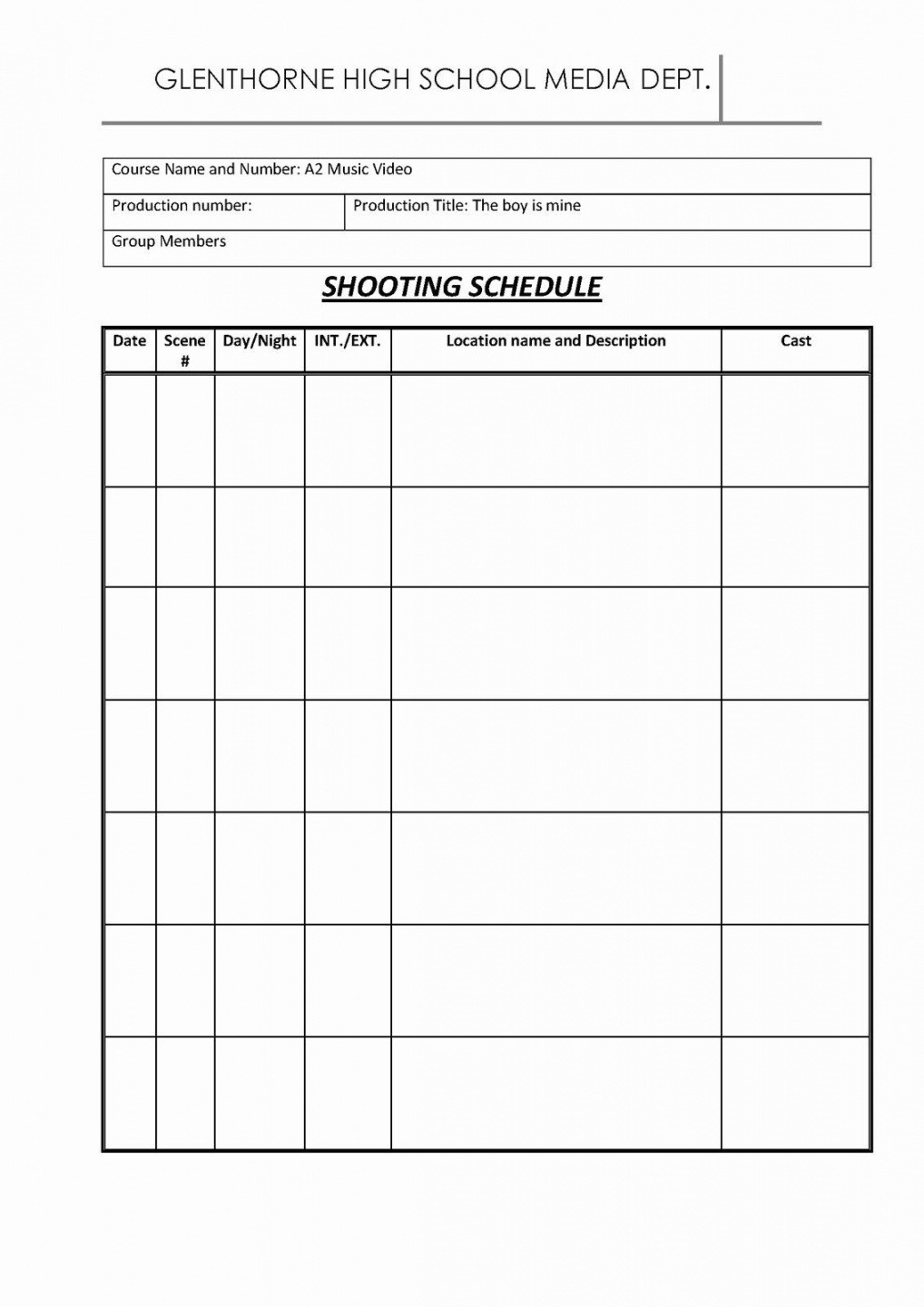 Free Camera Shot List Template  Example