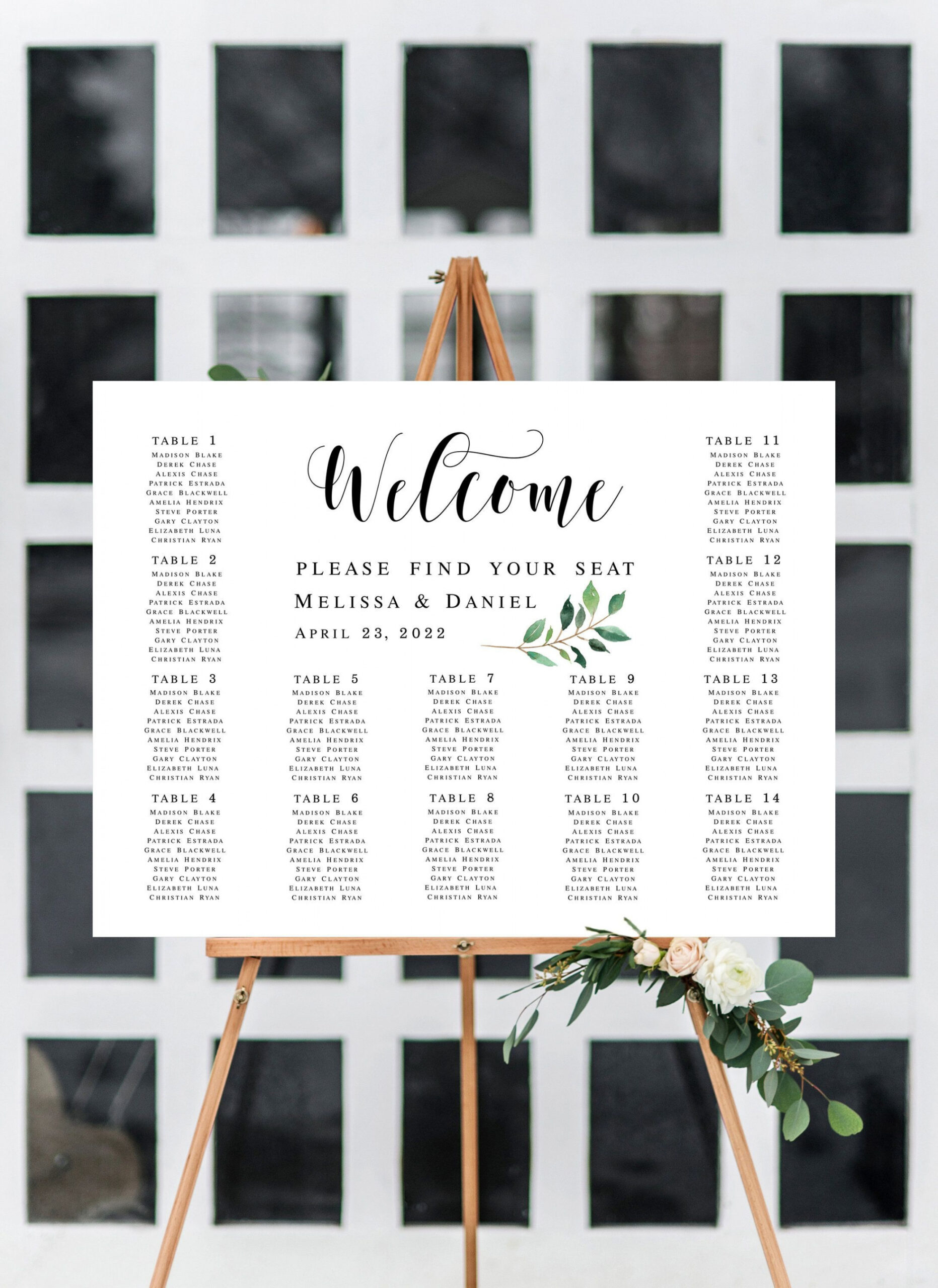Guest List Table Seating Template Pdf