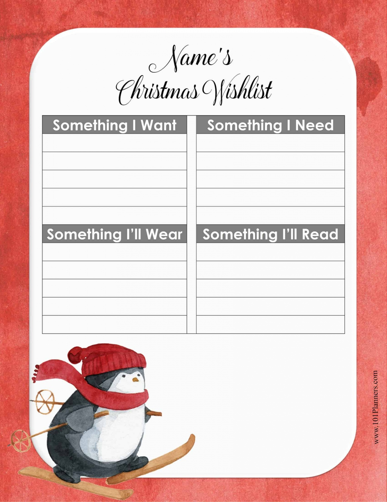 Printable House Wish List Template Excel