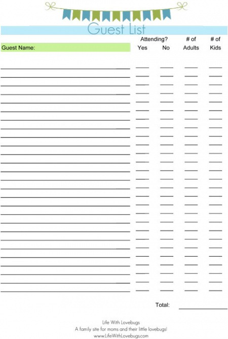 Professional Christmas Party Guest List Template Doc Sample