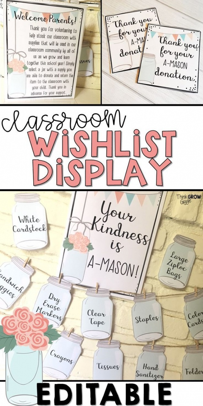 Professional Classroom Wish List Template Excel
