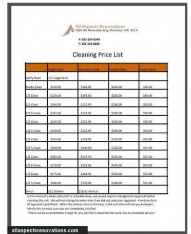 Editable Services Price List Template Pdf Example