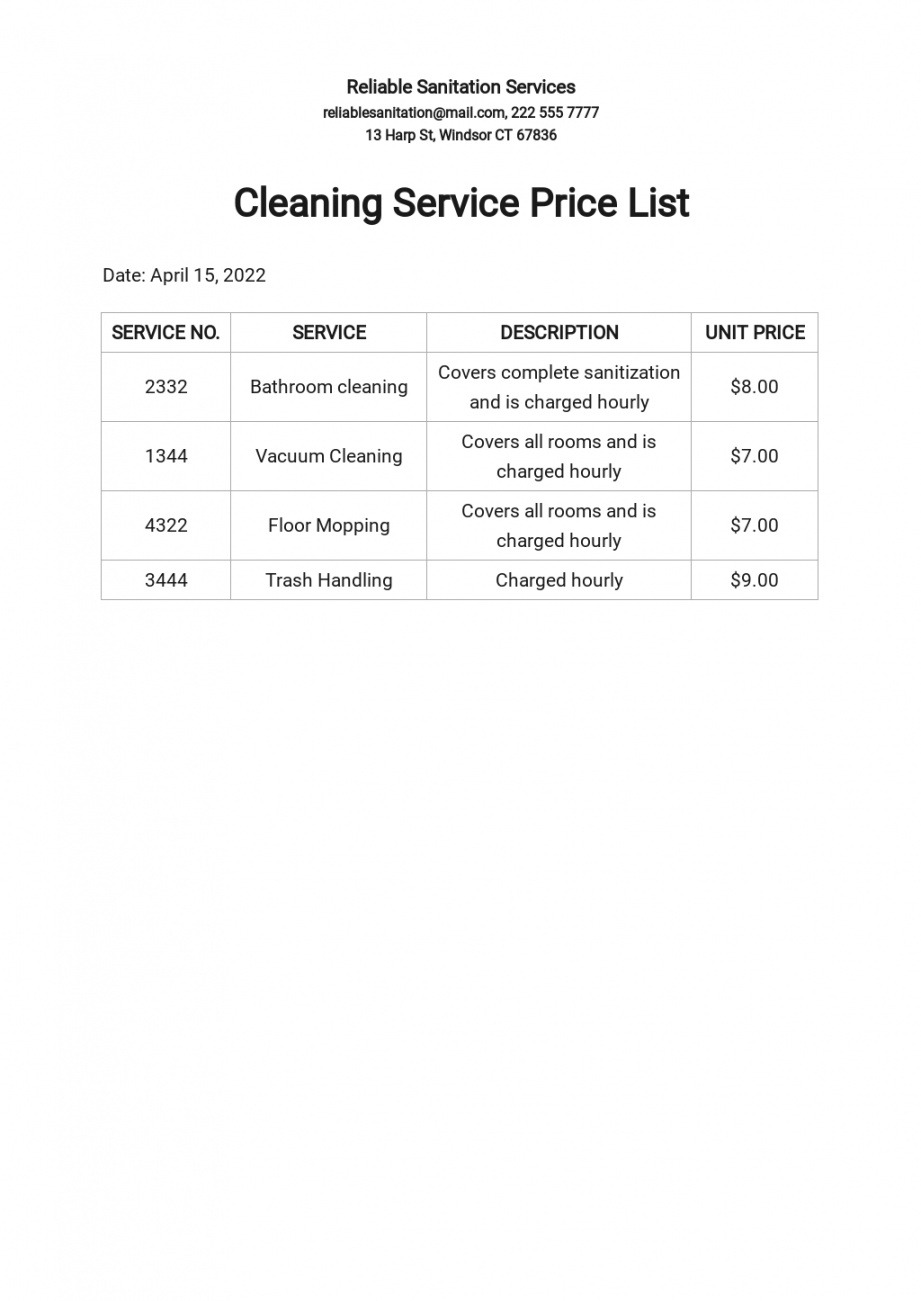 Free Services Price List Template Pdf Example
