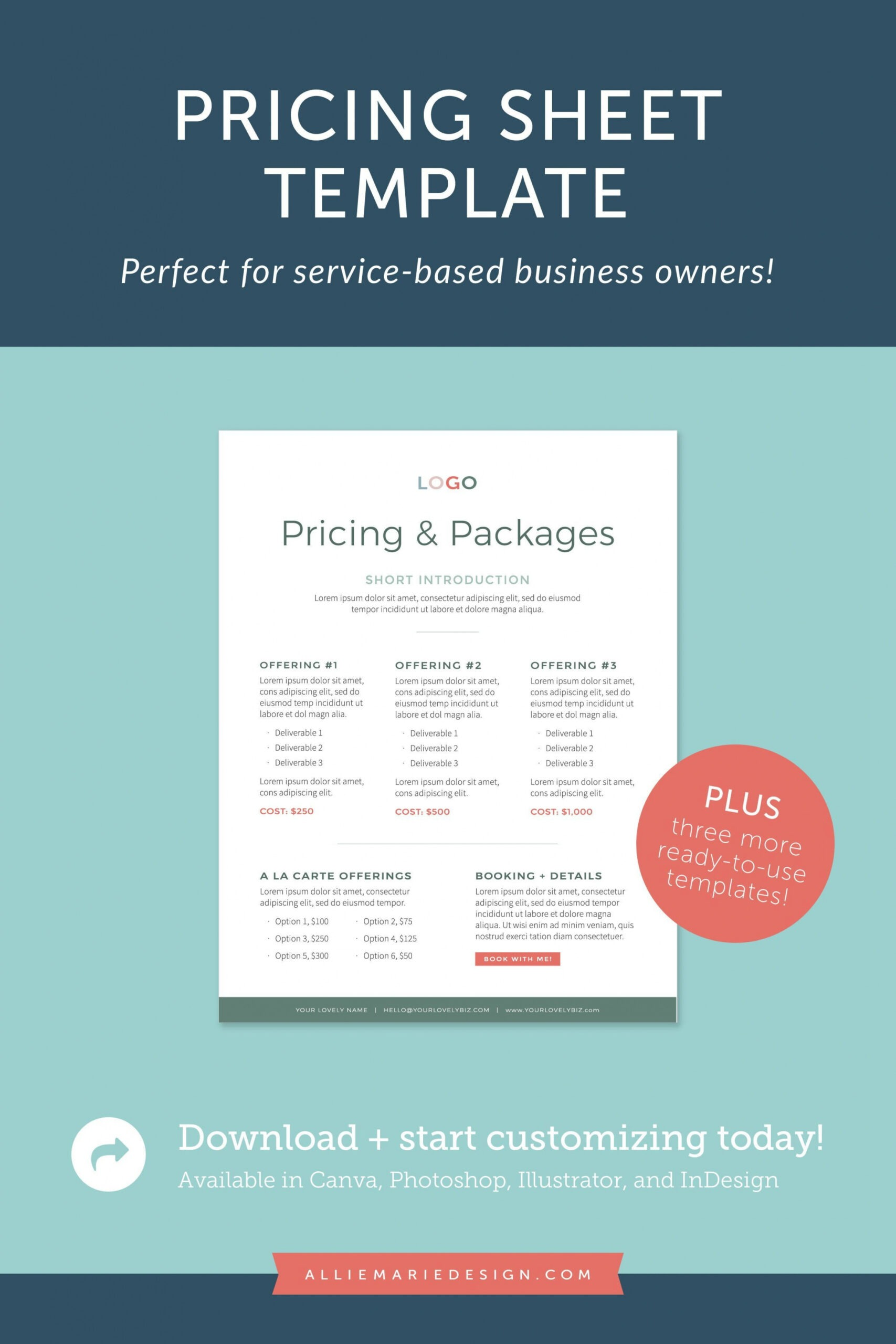 Professional Graphic Design Price List Template  Example